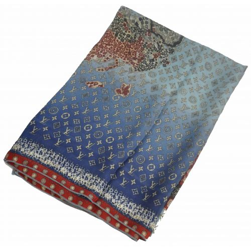 Шелковый шарф Louis Vuitton карта синий