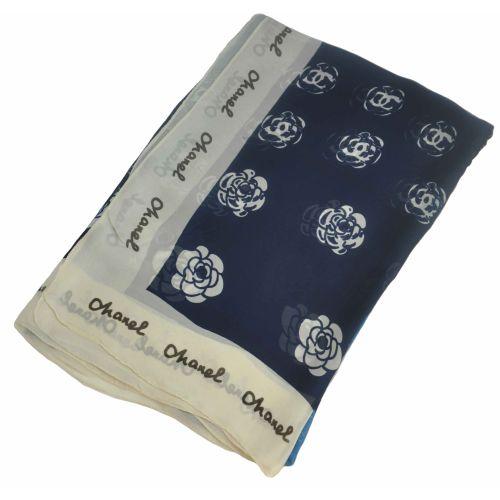 Шелковый шарф Chanel розы темно-синий