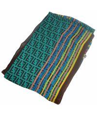 Шелковый шарф FF радуга бирюзовый
