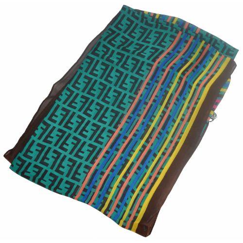 Шелковый шарф Fendi радуга бирюзовый