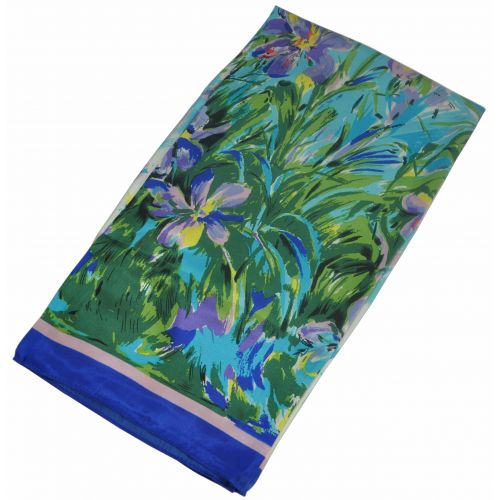 Шелковый платок Fashion ирисы голубой
