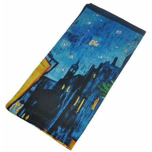Шелковый платок Fashion город голубой