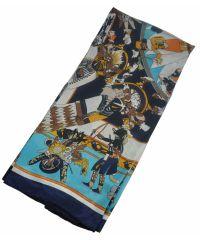 Шелковый платок Fashion индейцы голубой