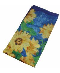 Шелковый платок Fashion подсолнухи синий