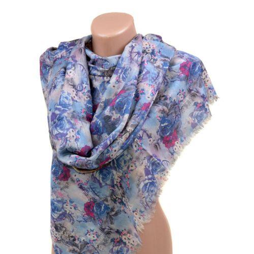 Шарф PL-2301 49-1 цветы голубой
