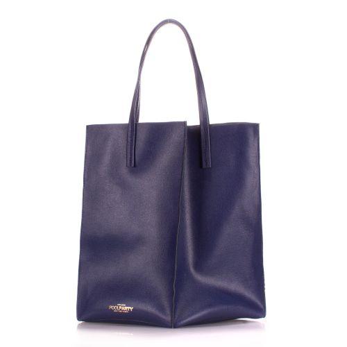 Женская кожаная сумка Poolparty milan-safyan-blue синяя