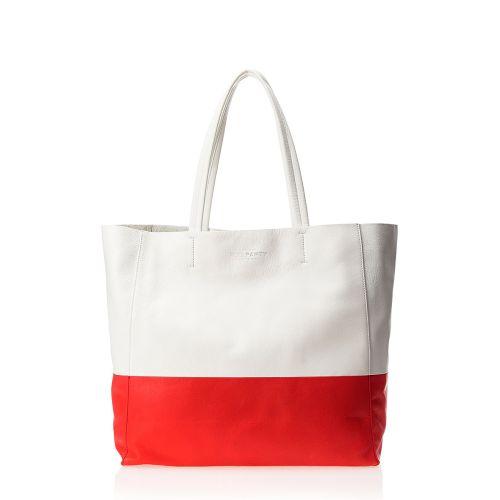 Женская сумка poolparty-devine-white-red кожаная белая с красным