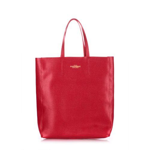 Женская кожаная сумка Poolparty city-safyan-red красная