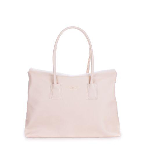 Женская кожаная сумка Poolparty sense-safyan-beige бежевая