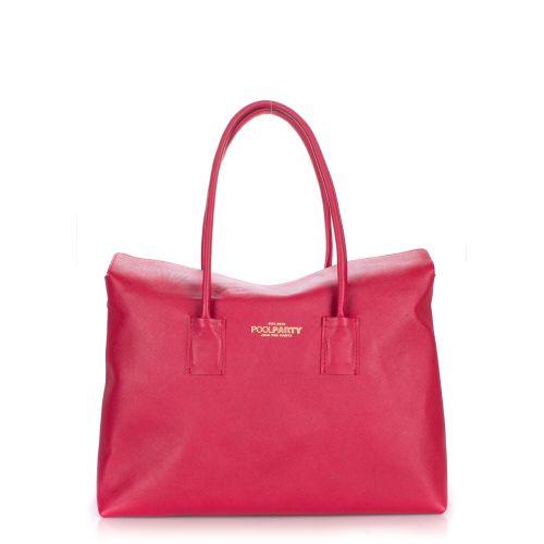 Женская кожаная сумка Poolparty sense-safyan-scarlet красная
