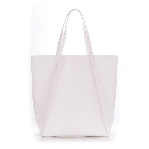 Женская кожаная сумка Poolparty edge-white белая