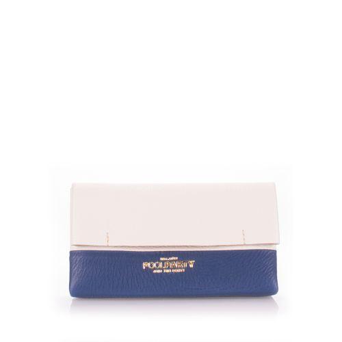 Клатч Poolparty Leather Pouch 2 nite белый с синим
