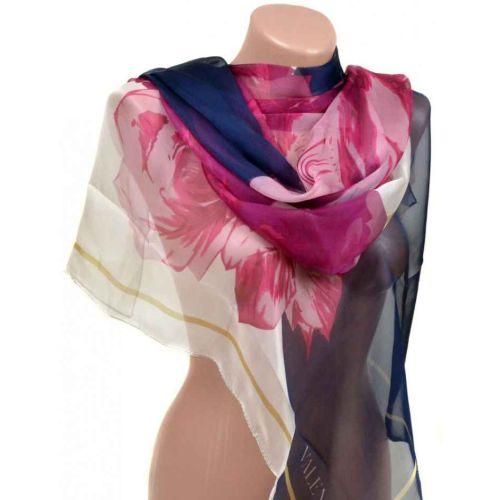Шелковый шарф 10223-B1 синий