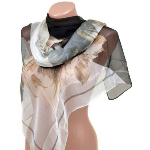 Шелковый шарф 10223-B2 черный
