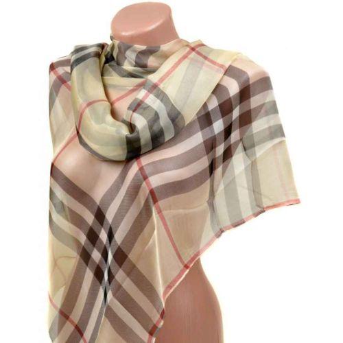 Шелковый шарф 10223-D4 бежевый