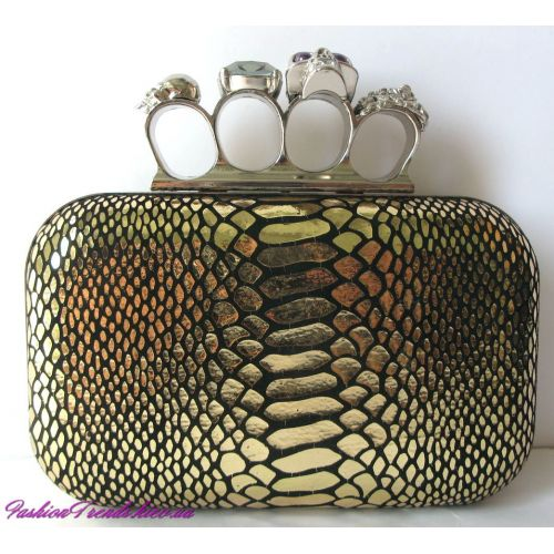 Клатч Alexander McQueen Knuckle Box Clutch Gold питон
