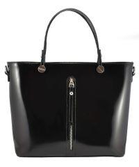 Женская кожаная сумка Фрида полированная черная