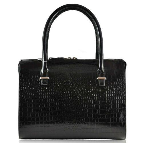 Женская кожаная сумка Розмарин крокодил черная