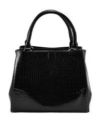 Женская кожаная сумка Софит крокодил черная