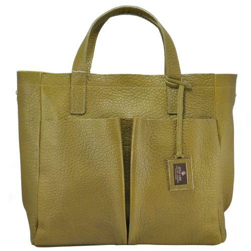 Женская кожаная сумка Велина оливковая