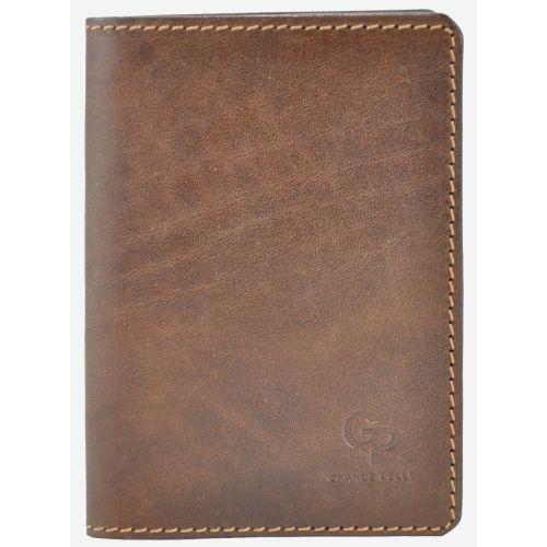 Обложка для паспорта кожаная Grande Pelle Gloss коричневая