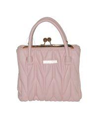 Милая женская сумка Angebot розовая с золотым замочком