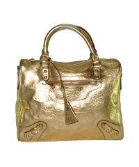 Кожаная сумка 8818 золотистая с ремешками