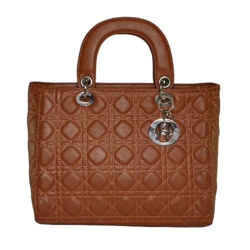 Женская сумка Lady Dior Cannage Bag рыжая