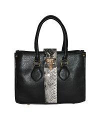 Женская сумка B1 черная с питоновой вставкой