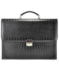 Мужской кожаный портфель М49 Crocodile черный