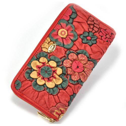 Женский кошелек Flower красный