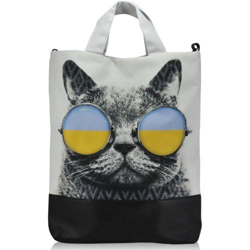 Женская сумка Кот в очках белая