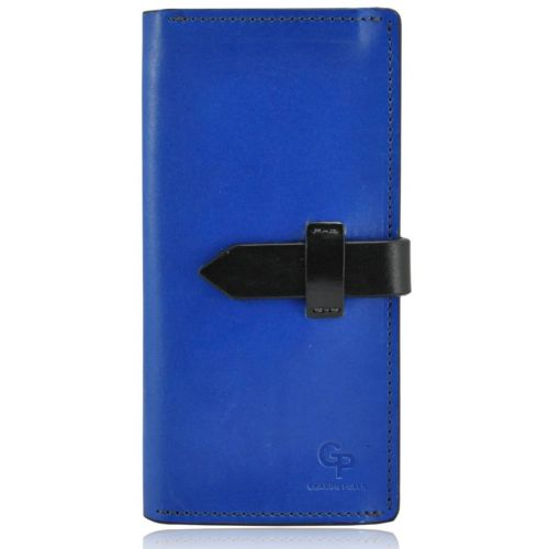 Мужской кошелек кожаный Grande Pelle Gloss Cinturino синий