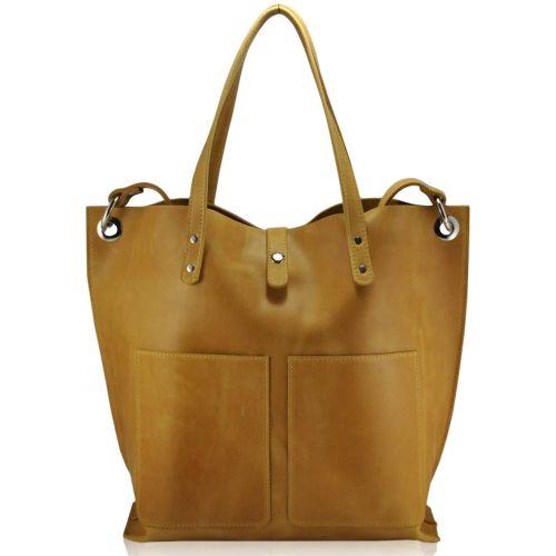 Женская кожаная сумка 857279 желтая