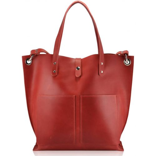 Женская кожаная сумка Babak Tote 857278 красная