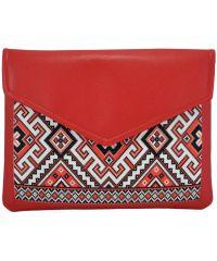 Женский клатч конверт вышиванка красная