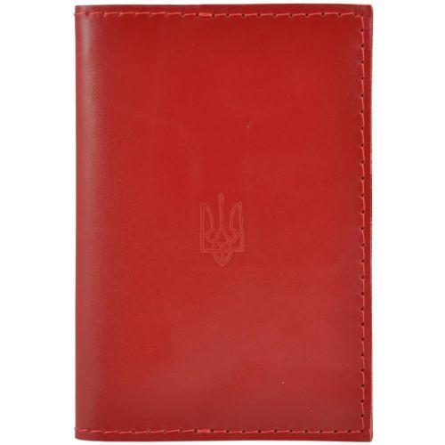 Обложка для паспорта кожаная Украина красная
