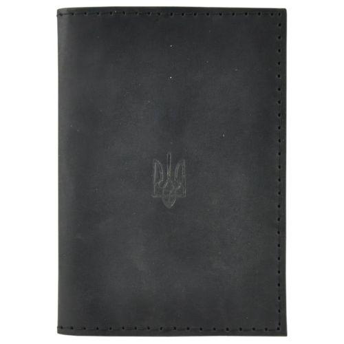 Обложка для паспорта кожаная Украина черная