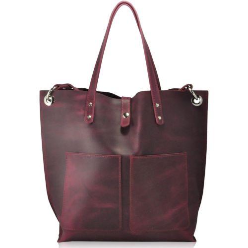 Женская кожаная сумка 857266 виноградная