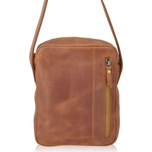Мужская кожаная сумка Zipp рыжая