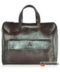 Мужской кожаный портфель Agruz M-04 Gloss коричневый