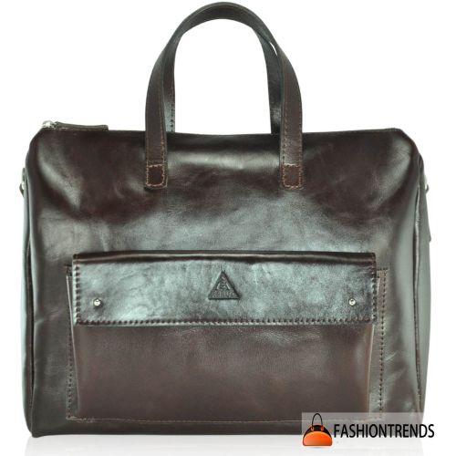 Мужской кожаный портфель M-04 Gloss коричневый