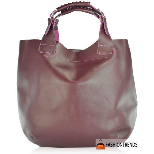 Женская кожаная сумка Zara фиолетовая