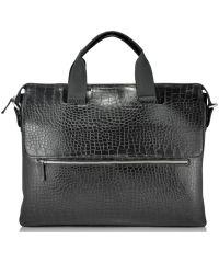 Мужской кожаный портфель M69 Crocodile черный