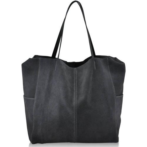 Женская замшевая сумка 8 серая