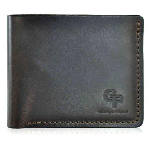 Мужской кошелек кожаный Grande Pelle на магните шоколадный