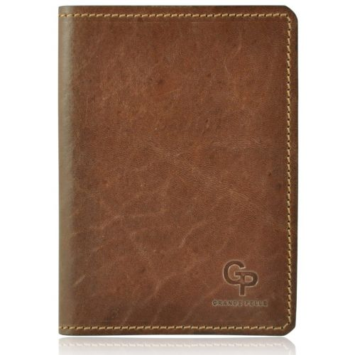 Обложка для паспорта кожаная Grande Pelle Gloss рыжая