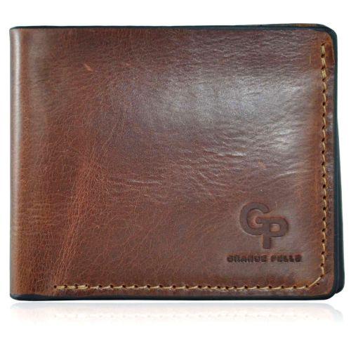 Мужской кошелек кожаный Grande Pelle на магните рыжий