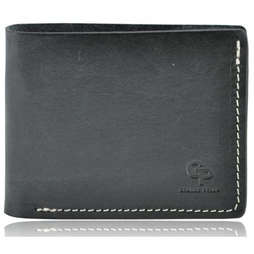 Мужской кошелек кожаный Grande Pelle на магните черный с рыжим