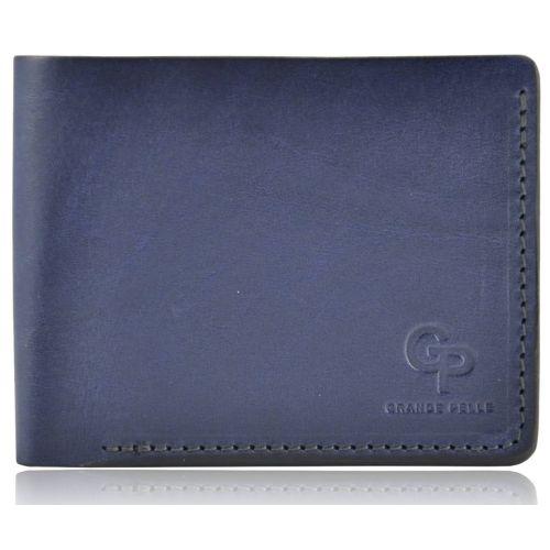Мужской кошелек кожаный Grande Pelle на магните синий
